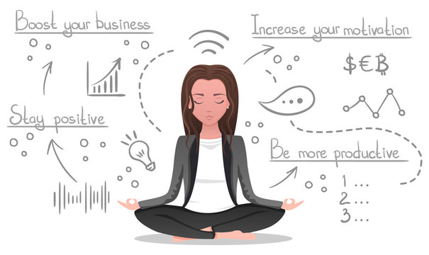 Business yoga concept, woman meditates, make plans and generates ideas on white isolated background. Office concentration yoga, meditation zen pose, hand drawn line icons, cartoon vector illustration.