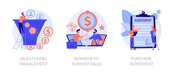 Business partnership cartoon icons set. Lead generation. Sales funnel management, business-to-business sales, purchase agreement metaphors. Vector isolated concept metaphor illustrations