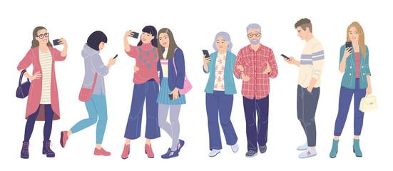 Men and Women Using Smartphones
