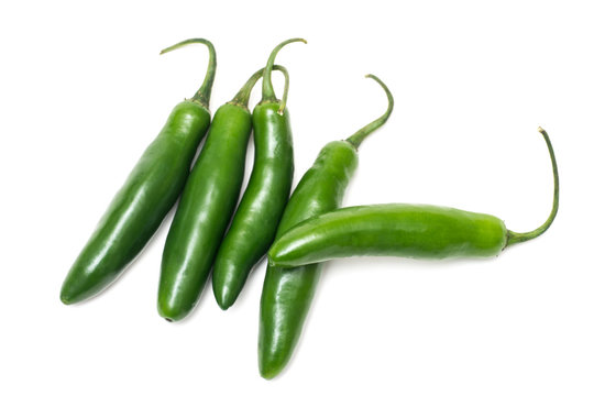 Serrano Chili Peppers Isolated on White