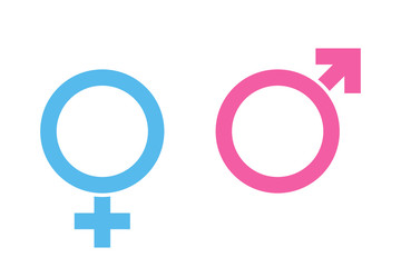 Sex or male vector icons isolated on white background blue and pink colors. Female symbol. Male sex icon. Gender sign.