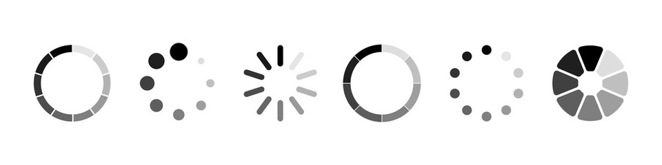 Loading vector icons. Load. Loading for site design. Computer icon. Load system. Data load. Loading bar.