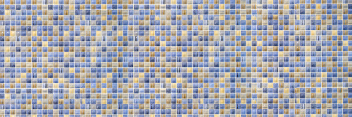 Geometric pattern or floor and wall surface. Mosaic tiles wide panoramic wallpaper.