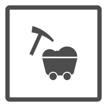 Mining icon. Wagon and digging. Vector illustration.