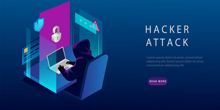 Isometric Internet Hacker Attack and Personal Data Security Concept. The Hacker at the Computer. Computer Security Technology. E-mail Spam Viruses, Bank Account Hacking. Vector Illustration