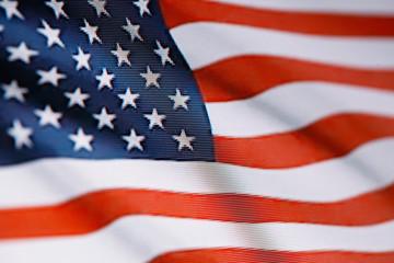 Ruffled USA flag made of pixels