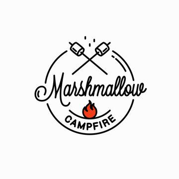 Marshmallows campfire logo. Round linear on white