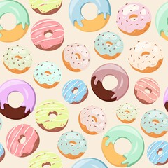 Donuts with pink icing, glazing and sprinkles seamless vector pattern. Background for cafes, restaurants, coffee shops, catering. Baked donuts texture for menu, booklet, banner, website.