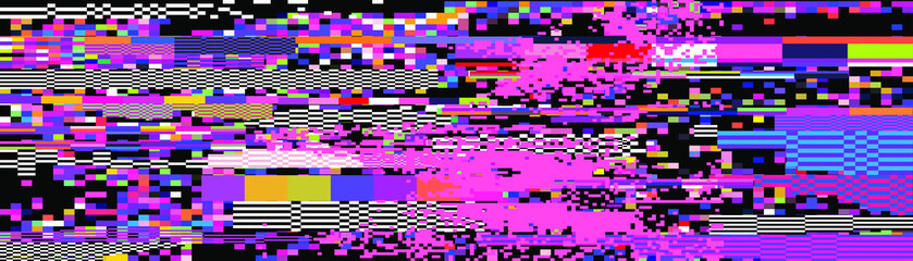 Webpunk style glitched background with VHS artifacts, random pixel noise. Vaporwave and retrowave aesthetics of 80's.