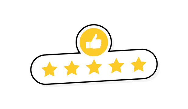 Five stars customer product rating review with thumbs up icon. Modern flat style vector illustration