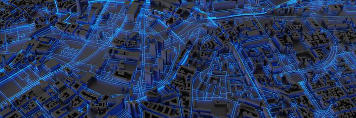 Techno mega city; urban and futuristic technology concepts, original 3d rendering