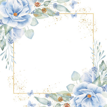 Square frame with floral elements hand drawn raster illustration