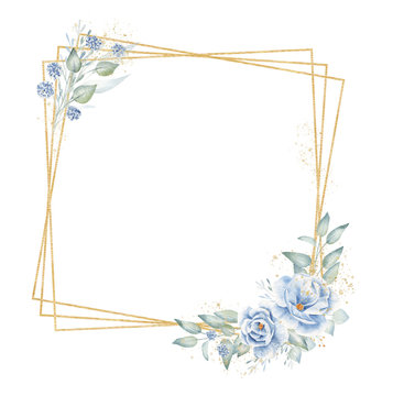 Triple quadrate frame with floral elements hand drawn raster illustration