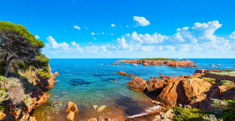 Esterel, tree, rocks, beach and sea. Cote Azur, Provence, France.