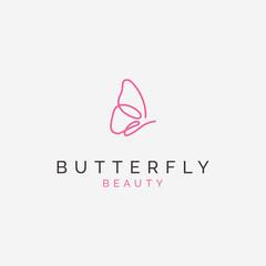 simply line art butterfly logo