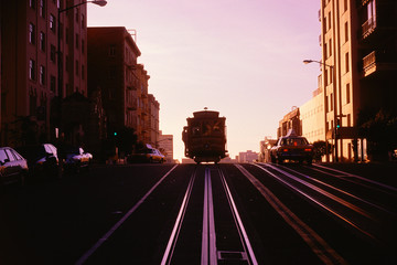 Trolley car in twilight, CA