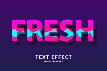 3d text bold fresh pink and cyan wavy style text effect, editable text