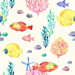 Hand painted watercolour coastal seamless repeat pattern with colorful fish, coral reefs, starfish, seaweed and pebbles on a cream background