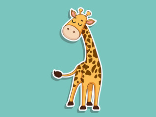 Cute Giraffe Cartoon Sticker. Kids, baby vector art illustration with Cartoon Animal Characters