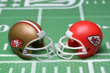 Helmets for the San Francisco 49ers, and Kansas City Chiefs, opponents in Super Bowl LIV.
