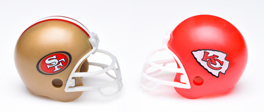 Helmets for the Kansas City Chiefs and San Francisco 49ers, opponents in Super Bowl LIV.