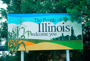 Wall Mural - Welcome to Illinois Sign