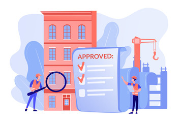 Architectural project approval, safety check. Construction quality control, construction quality management, hire your quality technician concept. Pinkish coral blue vector isolated illustration