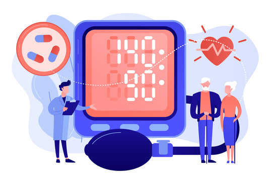 Doctor, elderly couple at tonometer hight blood pressure, tiny people. High blood pressure, hypertension disease, blood pressure control concept. Pinkish coral bluevector isolated illustration