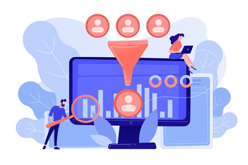 Data scientist and specialist extract knowledge and insights from data. Data science analytics, machine learning control, big data analytics concept. Pinkish coral bluevector isolated illustration Papier Peint
