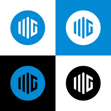 Initial MG or WG letter logo icon design - Vector