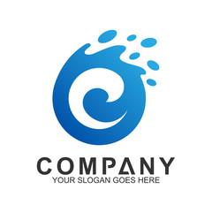 Wave Letter C Logo Vector, Ocean Logo, Flow Waves Logo