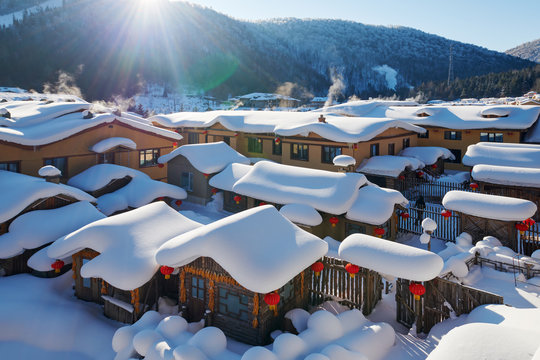 The beautiful snow landscape in China snow town .