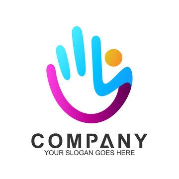 People Care Logo,Kid In Hand Shape, We Care Logo,Family Logo