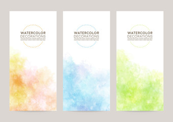 watercolor vector cover background set : orange blue green Wall mural