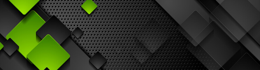 Green and black squares on dark perforated metallic background. Abstract technology banner design. Vector illustration