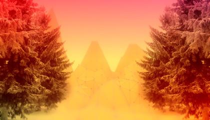 Türaufkleber Violett rot Low poly mountains landscape. Polygonal mosaic background. Fir tree