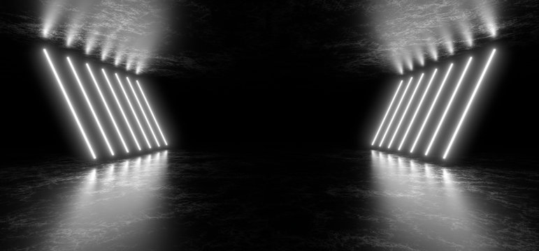 Beautiful composition of white neon lights on a black background. 3d rendering image.