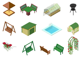 Garden architecture objects 3d isometric illustration. Sandbox, table, chair, swing, trolley, greenhouse, flowers, bench, pool, barbecue and flowerbed roses