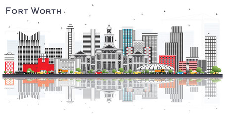 Fort Worth USA City Skyline with Gray Buildings and Reflections Isolated on White.
