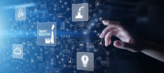 Smart industry 4.0, automation and optimisation concept on virtual. Business and modern technology concept.