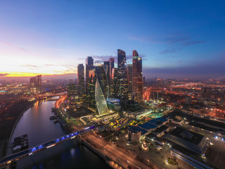 Printed kitchen splashbacks Moscow Moscow city sunset aerial view from drone with scyscrappers, business centre and ambankment