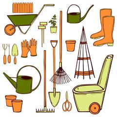 Hand drawn garden tools. Vector sketch  illustration.
