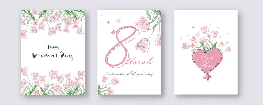 8 March, Happy Women's Day Template Design Decorated with Doodle Style Tulip Flowers, Butterflies and Heart Shape Venus Sign in Three Option.