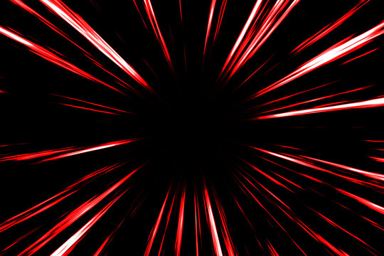 Red comic radial speed lines in black background. Action speedline inspired by japanese Anime.