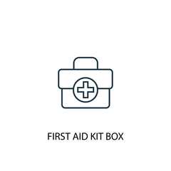First aid kit box concept line icon. Simple element illustration. First aid kit box concept outline symbol design from Camping set. Can be used for web and mobile UI/UX