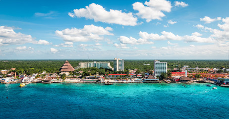 Wall Mural - Panoramic view of harbor and cruise port of Cozumel, Mexico.