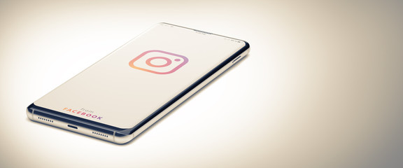 KYIV, UKRAINE-JANUARY, 2020: Instagram on Smart Phone Screen. Close-up Image of Modern Smartphone with Instagram Website Page on White Surface. 3D Render.