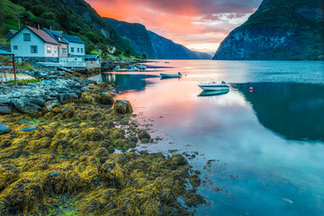 Sunset in Undredal, Aurland, Sognefjord, Norway