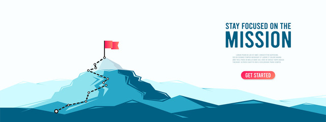 Flag on the mountain peak. Business concept of goal achievement or success. Flat style vector illustration