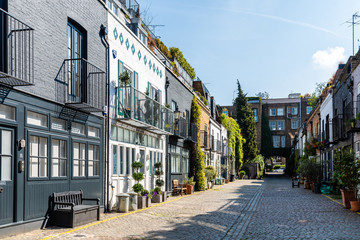 View of the picturesque St Lukes Mews alley near Portobello Road in Notting Hill, London